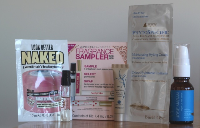 From left to right: Soap & Glory Face Soap and Clarity 3-In-1 Daily-Detox Vitamin C Facial Wash sample, Gucci Guilty sample, Sephora Favorites Fragrance Sampler For Her, Wei Royal Ming Firming and Hydrating Cream sample,  Phyto PhytoSpecific Moisturizing Styling Cream sample,  Josie Maran Argan Oil Hair Serum